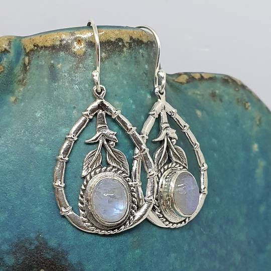 Moonstone earrings with open bamboo style frame