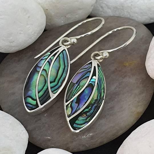 Sterling silver paua shell earrings