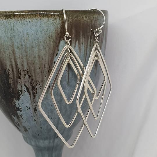 Silver large dangle earrings
