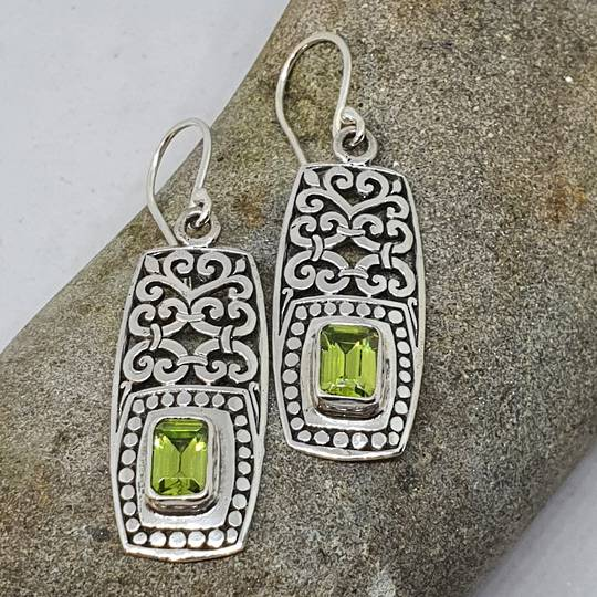 Silver peridot cz earrings in long rectangle filigree