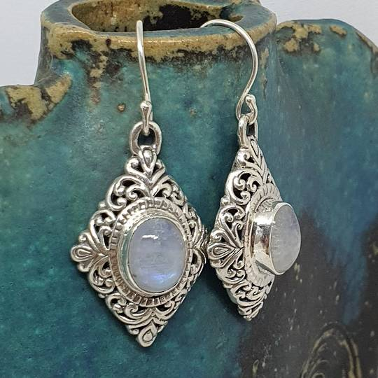 Sterling silver moonstone gemstone earrings