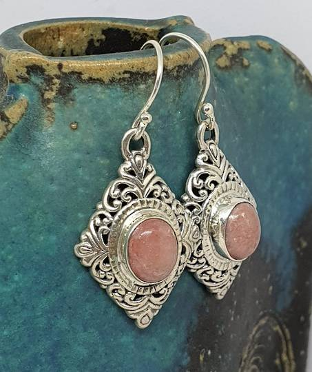 Sterling silver rhodochrosite gemstone eearrings