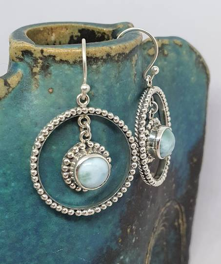Fabulous, large decorated larimar gemstone hoop earrings