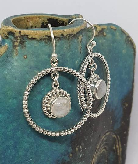 Fabulous, large decorated moonstone gemstone hoop earrings