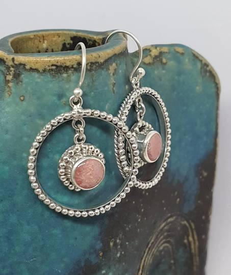 Fabulous, large decorated rhodochrosite gemstone hoop earrings