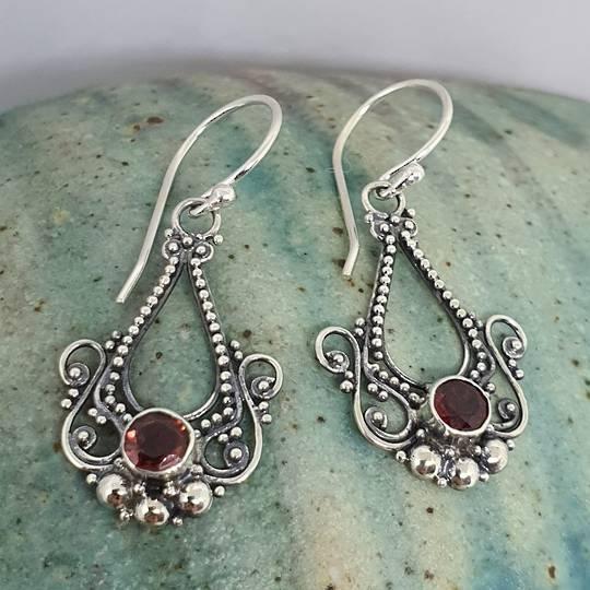 Sterling silver filigree garnet earrings