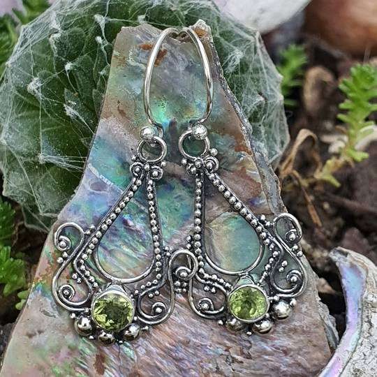Silver filigree hook earrings with green peridot