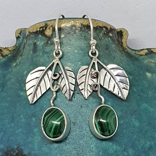 Sterling silver malachite gemstone earrings