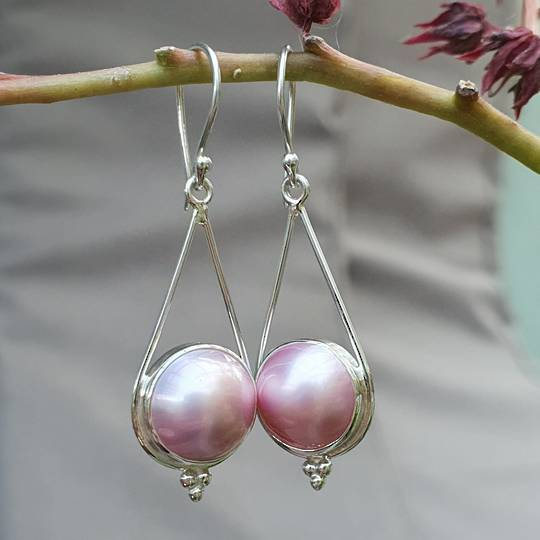 Sterling silve pink pearl hook earrings