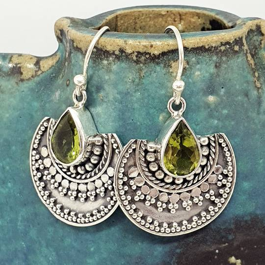 Silver peridot cz earrings