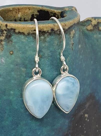 Sterling silver teardrop larimar gemstone earrings