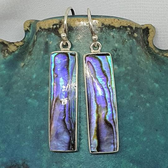 Long rectangle paua shell hook earrings