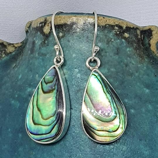 Large teardrop paua shell hook earrings