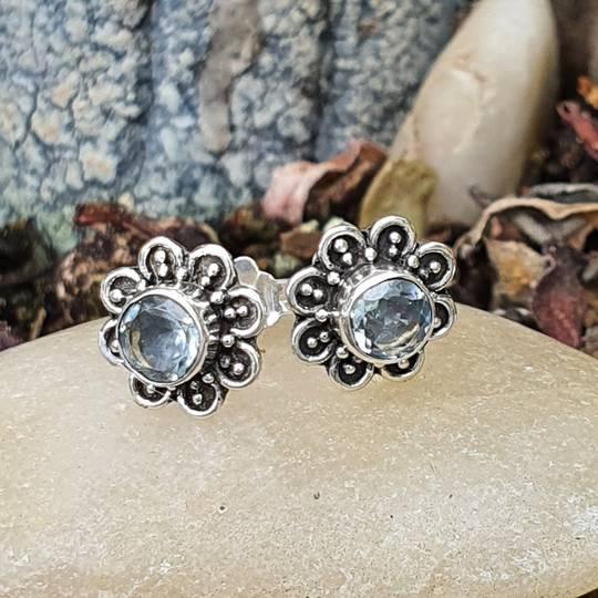 Silver blue topaz stud daisy stud earrings