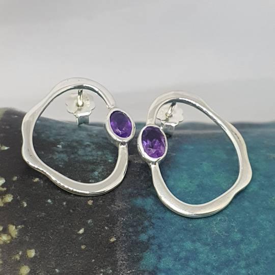 Open wonky oval shape amethyst earrings