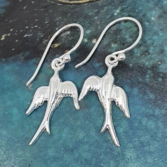 Sterling silver swallow bird earrings