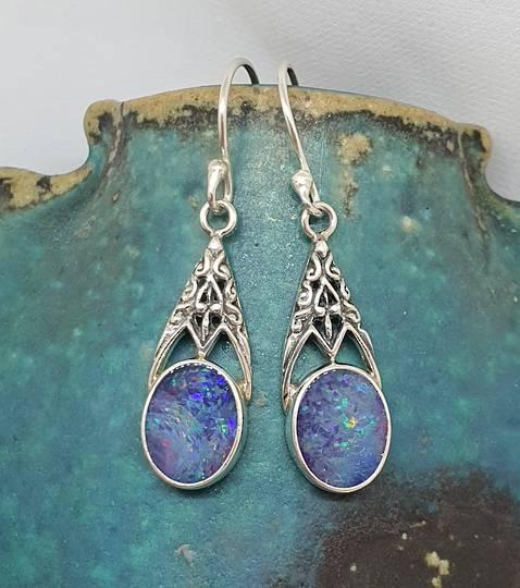 Sterling silver opal hook earrings