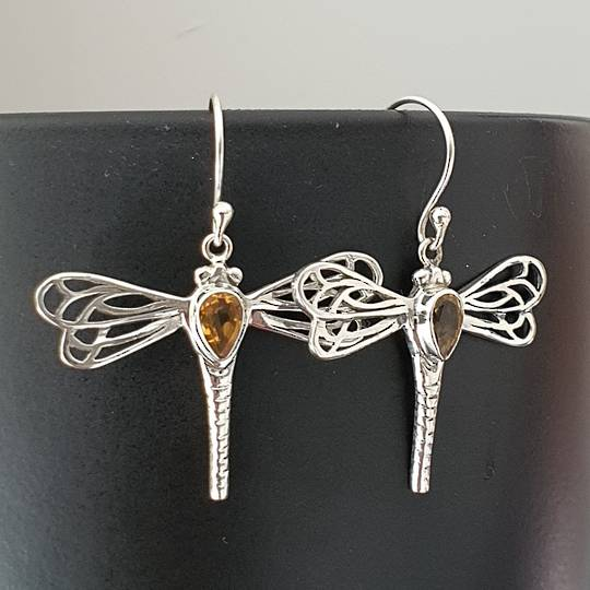 Sterling silver dragonfly citrine earrings