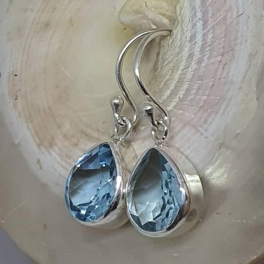 Sterling silver blue topaz teardrop earrings