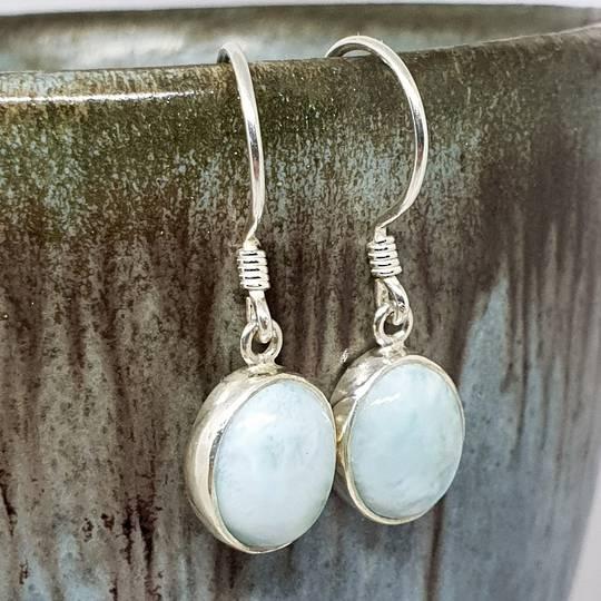 Sterling silver oval larimar gemstone earrings