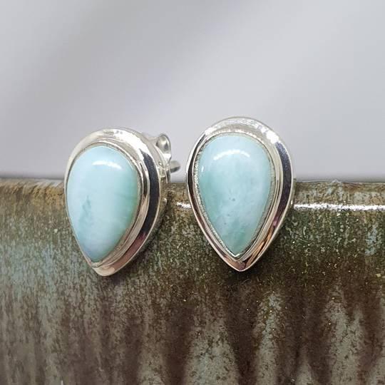 Teardrop larimar gemstone stud earrings