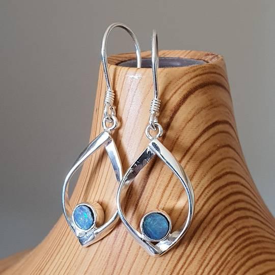 Sterling silver small opal earrings
