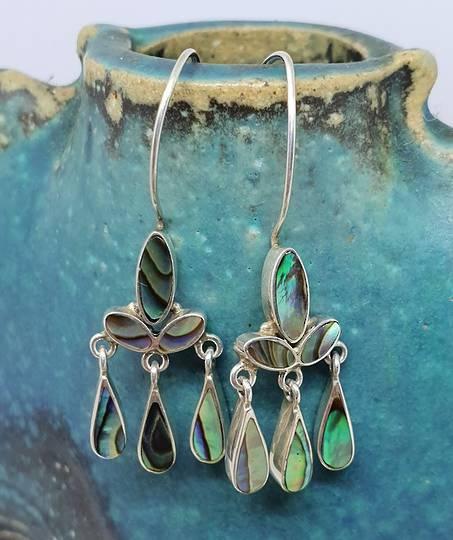 Sterling silver dangling longer paua shell earrings