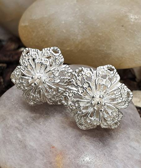 Silver flower stud earrings - now on sale