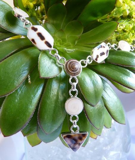 Natural shell necklace - sterling silver