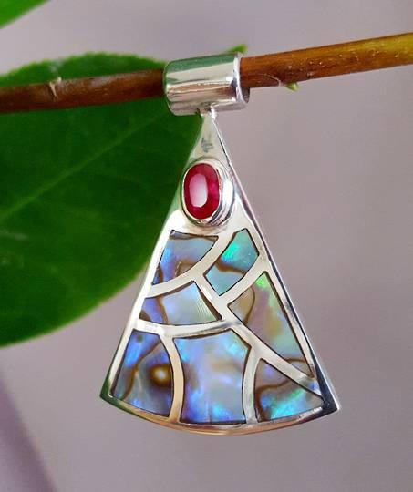NZ paua shell pendant, sterling silver