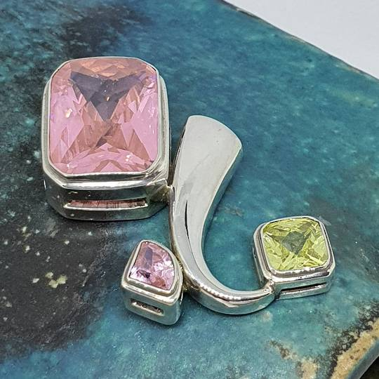 Large sterling silver pink gemstone pendant