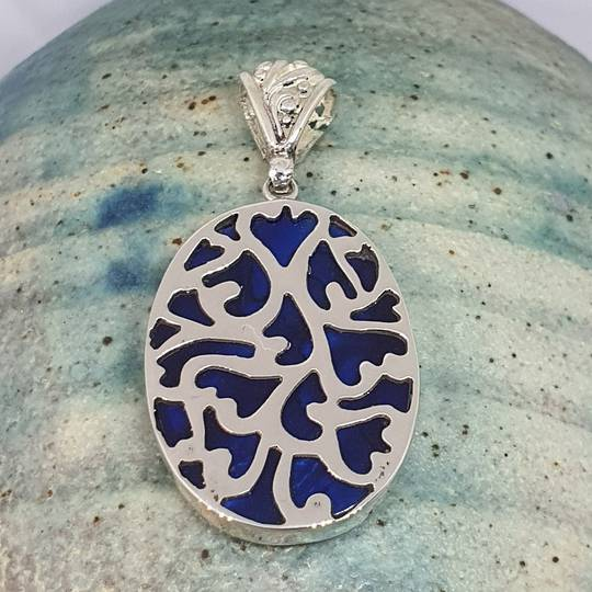 Sterling silver paua shell pendant - dyed blue