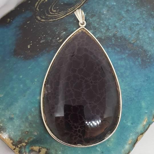 Large teardrop purple fluorite pendant