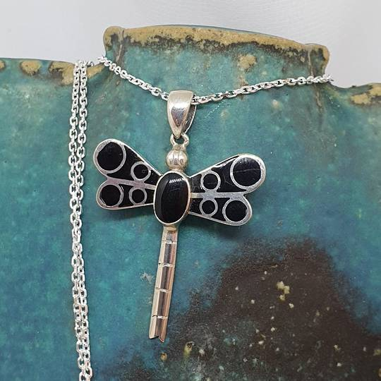 Silver dragonfly pendant with black shell inlay