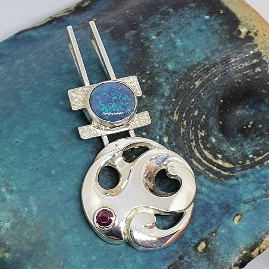 Opal & ruby designer pendant - Made in NZ