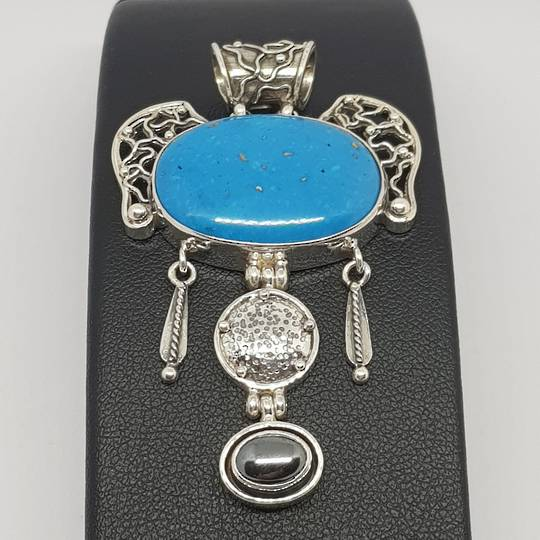 One off exquisite turquoise pendant