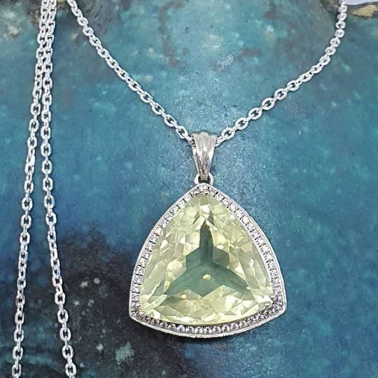 Large trillion lemon quartz and cz pendant