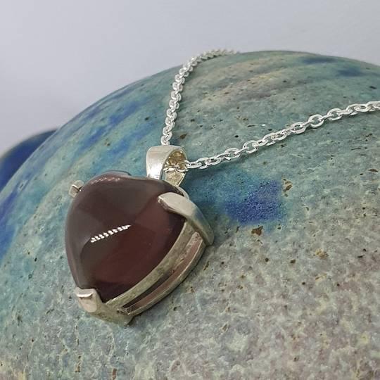 Soft purple fluorite heart shape pendant
