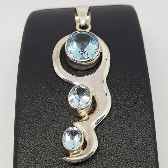 Blue Topaz Silver Pendant