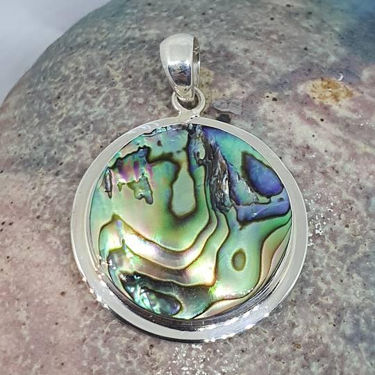Silver paua shell pendant