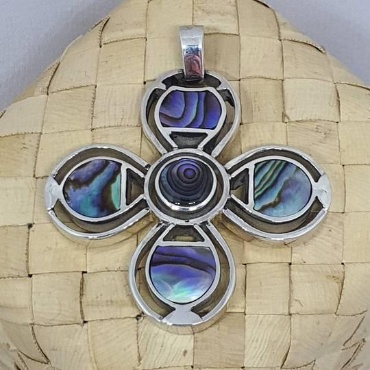 NZ Paua Shell Silver Flower Pendant