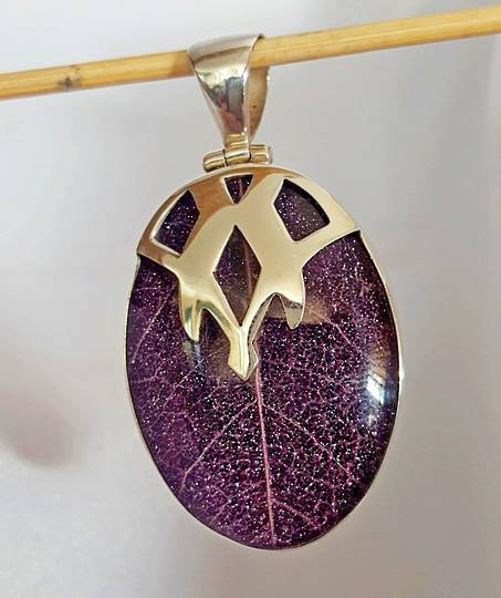 Purple skeleton leaf pendant - framed in solid sterling