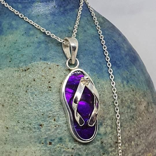 Sterling silver purple paua shell jandal pendant