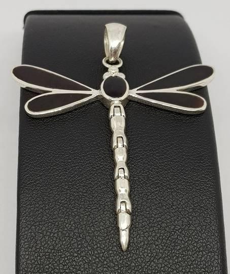 Black shell silver dragonfly pendant