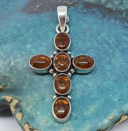 Sterling Silver Amber Cross