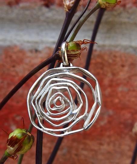 Rustic art, silver rose pendant