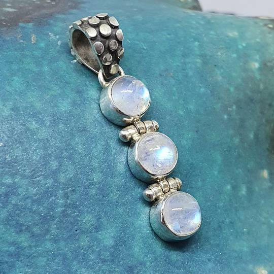 Sterling silver three stone moonstone pendant
