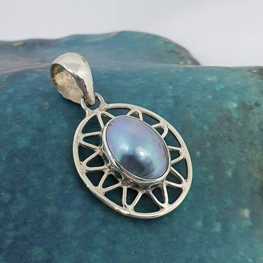 Sterling silver oval grey mabe pearl pendant