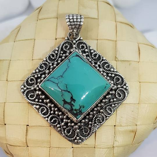 Sterling silver large square turquoise pendant
