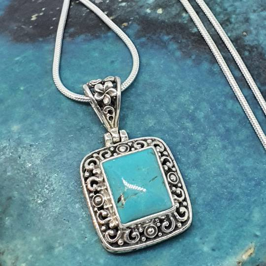 Sterling silver rectangle turquoise pendant